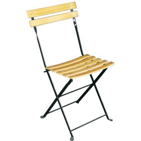 Chaise de jardin pliante en bois structure en métal vert