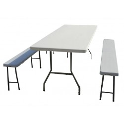 Ensemble bancs et tables pliantes