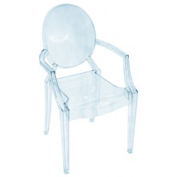 Chaise design avec des accoudoirs en plexiglas transparent, style louis ghost