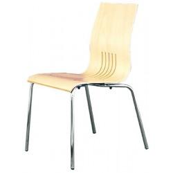 Chaise en bois et pieds chromé