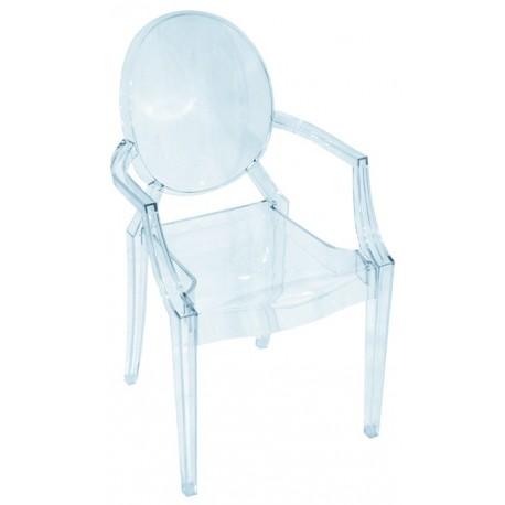 Chaise design avec des accoudoirs en plexiglas transparent, style louis ghost
