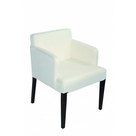 Chaise en tissu écru et pieds en bois