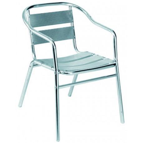 Chaise en aluminium avec accoudoirs