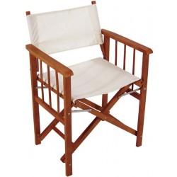 Chaise en bois exotique et tissu couleur écru avec accoudoirs